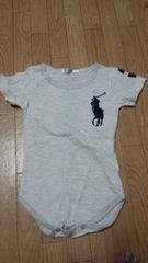 横浜高島屋購入新品未使用品グレーにビック刺繍ロンパース