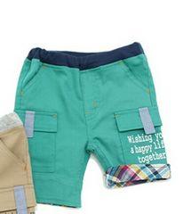 美品 ラキエーベ キムラタン ハーフパンツ サイズ95 グリーン 裾チェック柄 夏物