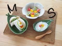 アジアン食器 ダブルリーフトレイ プルメリア ハワイアン雑貨