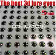 ジグ・ルアー等 目玉シール(3D) 5mm 100個