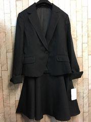 新品☆7号グラマーサイズ黒オフィススカートスーツ洗えるg815