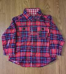 80 ミキハウス リバーシブルチェックシャツ