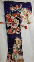 菊水古典柄正絹訪問着。藍〜古代紫色。帯 帯締 帯揚セット送料込
