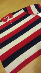 elementカノコボーダーポロシャツ赤グレー紺ロゴ刺繍 サイズ3XLXXXL→4XL位�Q