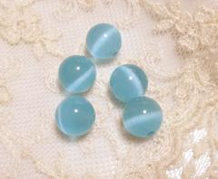 キャッツアイビーズ10�o5個ブルー(人工石)