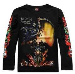 新品 メンズシャツ どくろ 死神 ロングTシャツ長袖サイズM