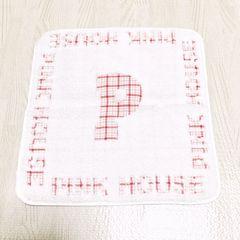 【NEW】タオルハンカチ/PINK HOUSE/オフ白×ピンク/綿100%