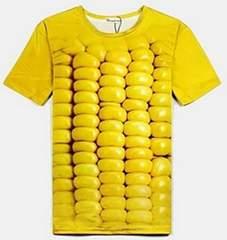 おもしろ3DTシャツ 立体的 Tシャツ 男女兼用 とうもろこしМ