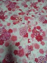☆新柄白×八重桜ラメ入柄ダボシャツM