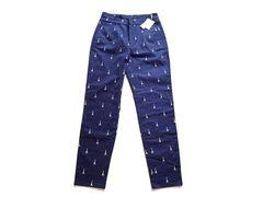 新品 MAYAMAYA タワー 刺繍 紺 パンツ レディース M
