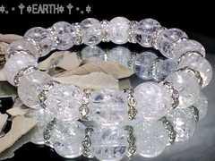 天然石★12ミリ◆クラック水晶&銀色波形高級ロンデル