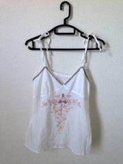 リズリサ★可愛い 刺繍 ビーズ ホワイト 綿 キャミソール M