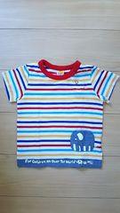 美品 ムージョンジョン カラフルボーダー 半袖Tシャツ 夏物 サイズ95