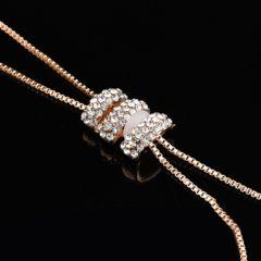 CZダイヤモンドクリスタルパール&真珠ロングゴールドネックレス