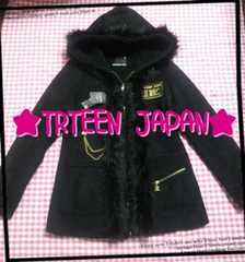 THIRTEEN JAPAN♪ファー付♪ブラックコート☆