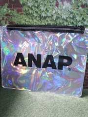 新品◆ANAPアナップ黒デカロゴオーロラビニールポーチ小物入れ
