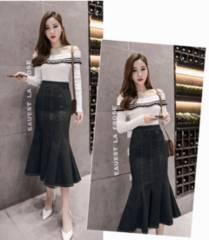 新品【7572】3XL(大きいサイズ)黒デニムマーメイドロングスカート