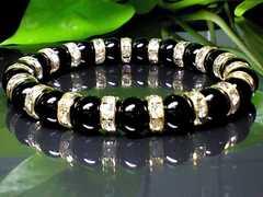 パワーストーン☆天然石!!ブラックオニキス8ミリ数珠ブレスレット§金ロンデル