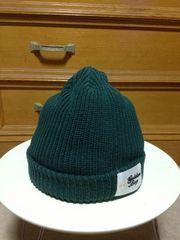 美品 日本製 ワッペン付き ニット帽子キャップ S〜Mサイズ小さめ 緑色 CA4LA
