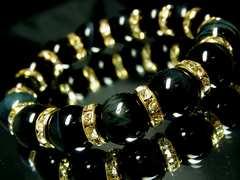 ブルータイガーアイ鷹目石ホークスアイ§12ミリ§金ロンデル§天然石数珠