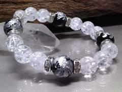 銀四神獣オニキス12クラック水晶10ミリ銀ロンデル数珠