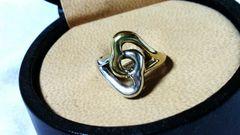 正規良 TIFFANY ティファニー ツインハートリング 10号 SV925×K18 YG750 指輪
