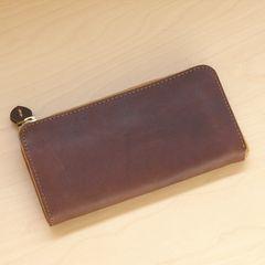 栃木レザー |財布 長財布 L字 ラウンドファスナー 702 ブラウン 新品