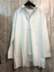 新品☆Lサイズ抜き衿シャツチュニックゆったり白きれいめ☆b774