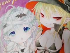 †オリジナル†ハロウィン姉妹「どっちがお好み?」自作イラスト1円スタート†