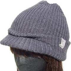 シンプル ツバ付き ニット帽 バイザー ワッチ つば帽子 グレー