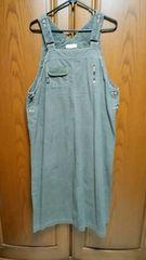 【大きいサイズ】とっても素敵なジャンバースカート。カーキ色デニム