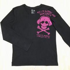 【used】スカルモチーフ丸首長袖Tシャツ/PPFM/メンズM/黒