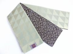 リバーシブル半巾帯半幅帯細帯ウロコ小桜シルバーグレー 洗える着物&小紋に