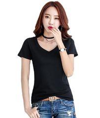 大幅値引き990円★超人気シンプルVネックTシャツ 半袖 黒L