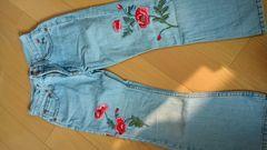 120cm GAPギャップ ジーンズデニムパンツ 花柄刺繍
