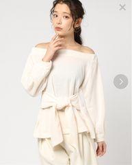 新品☆mysty woman(ミスティウーマン)ポンチ裏起毛オフショルリボンプルオーバー☆