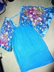 シルク使用アジアン着物スリーブ袖ドルマン水色ワンピースコリアン風デザイン中古