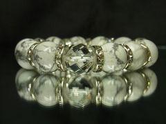 オシャレに決まる!!64面カット水晶クリスタル×ハウライトターコイズ数珠ブレスレット