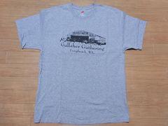 即決!USA古着●鮮やかロゴデザイン半袖TシャツL灰★ビンテージ