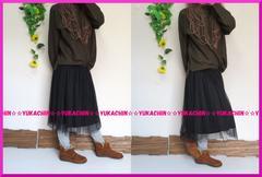 新作◆大きいサイズ3Lブラック◆メッシュレース◆膝丈スカート