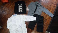 120コムサイズム ベスト、ズボン、ネクタイシャツ、ユニクロ白シャツ 七五三フォーマルセット