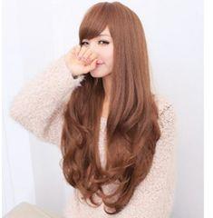 ★ふわふわ巻き髪★ ウィッグ ロングカール ブラウン 可愛い