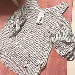 新品 ストライプ シャツ 袖リボンデザイン ホワイト