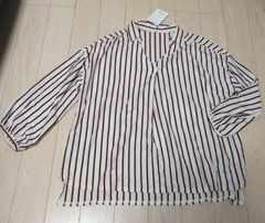 LL★ストライプ★着やせスキッパーシャツ★新品★大きいサイズ