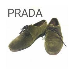 正規 PRADA スウェード レザー シューズ パンプス 革靴 34 1/2