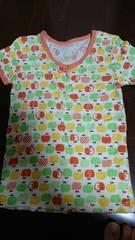 即決☆110�aリンゴ柄半袖シャツ