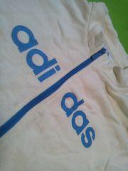 アディダスadidas白に水色adidasプリント110サイズ