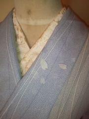 ブルー花ビラ夏単衣化繊絽150チョー美品レタR
