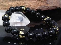 六字真言オニキス10ミリ§オニキス8ミリ数珠