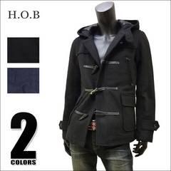H・O・B ウール メルトン ダッフルコート ブラック M[43004]